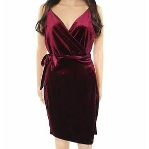 Adelyn Rae Velvet Wrap Sheath Dress